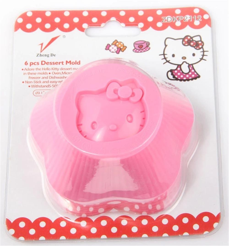 6 pcs premium quality food grade silicone hello kitty cake mold,birthday wedding supplies cupcake muffin baking mold tools(China (Mainland))