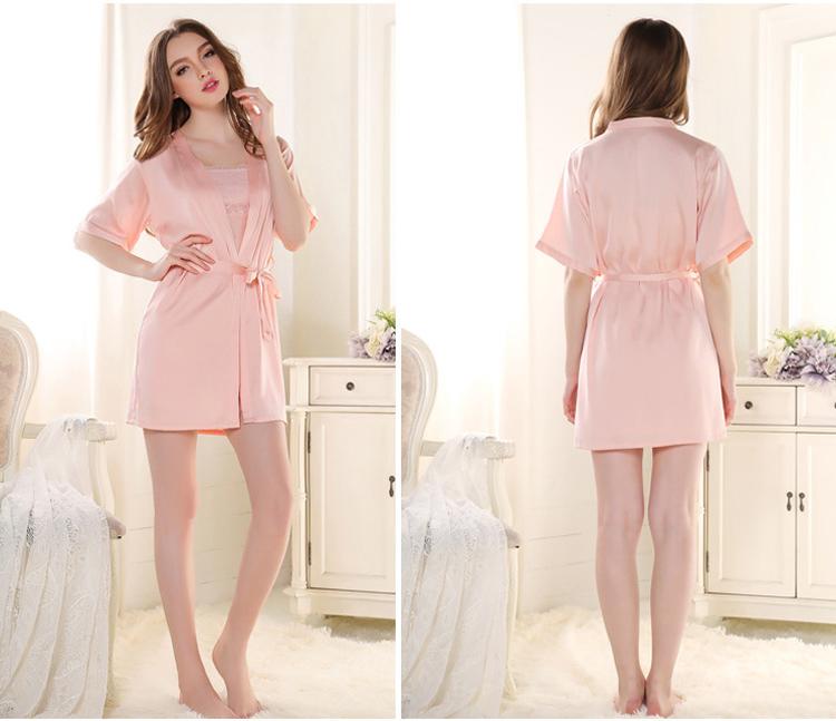 Women Silk Nightgown Robe Set Sleeveless Night Gown And Short Sleeve