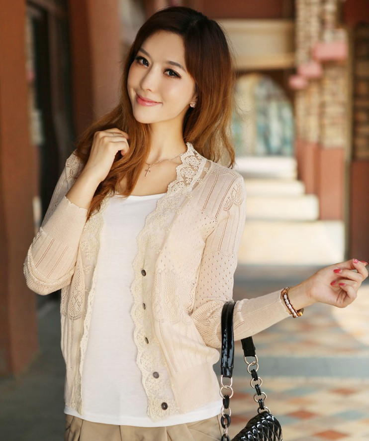 Lace Thin Hollow Cardigan Women Fashion Brand Solid Color Long Sleeve Crochet Flower Sweater Sweet Female Knitted Cardigans - Ecostore store