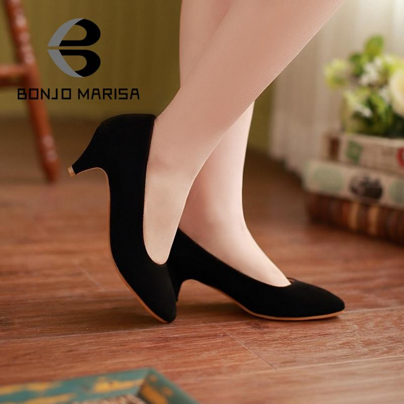 Cheap Big size Fashion Vintage Spiked Heels Less Platform Pointed Toe Casual Dress Women Pumps Office Work Shoes<br><br>Aliexpress
