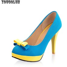 4Colors 2016 woman shoes high heels platform ladies bow heel womens pumps Thin heels Sexy office shoes for women Big size US 9.5(China (Mainland))