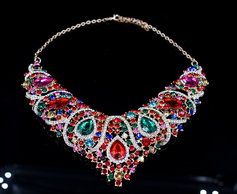 lan palace latest african beads for wedding gold plated red jewelry sets necklace and earrings  six colors free shipping