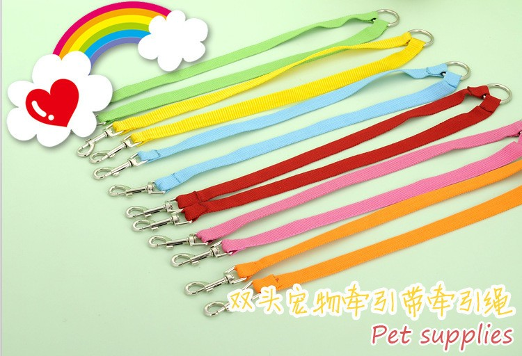 5 color New Double Multiple Dual Coupler 2 Way Two Pet Dogs Nylon Dog Pet Walking Leash Puppy Leads PG24 (5)