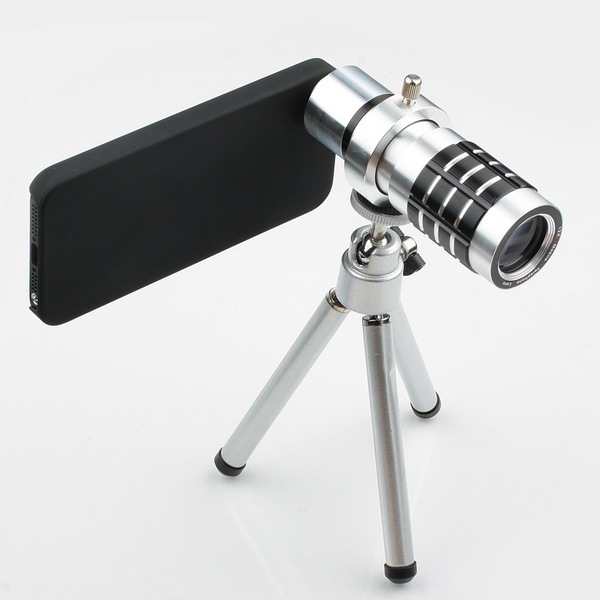 DHL Free shipping, Full Metal 12X Zoom extra telephoto Lens for Apple iPhone 5  5G with tripod holder and back case
