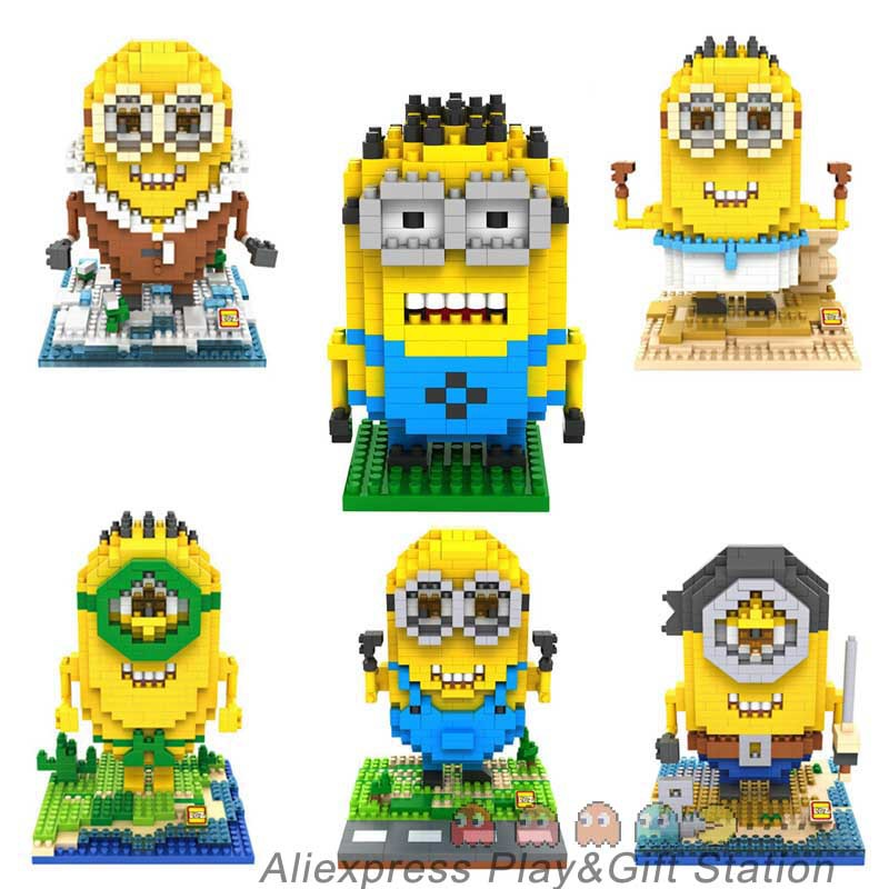 Minions Action Figures ABS doll DIY Blocks Toys Quality Christmas Present Gift for Kids(China (Mainland))