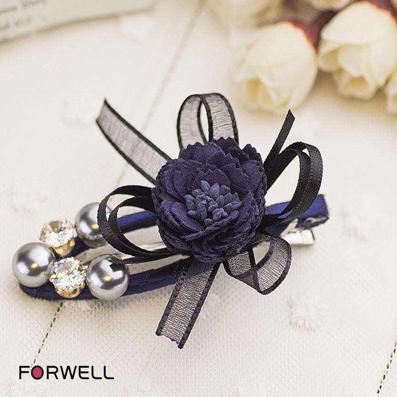 New arrival hairpins rhinestone silk yarn bow hairclip dark blue fabric flower barrettes hair accessories for girls women(China (Mainland))