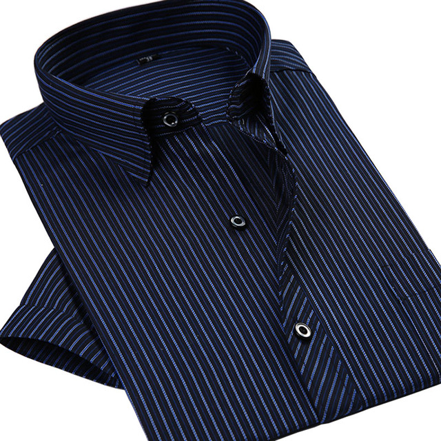 Летом 2016 новых людей полосатой рубашке с коротким рукавом мода свободного покроя ...