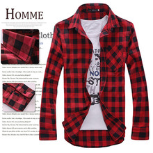 Men s font b Plaid b font Shirts 2016 Fashion Long Sleeve Slim Fit Cotton Shirt