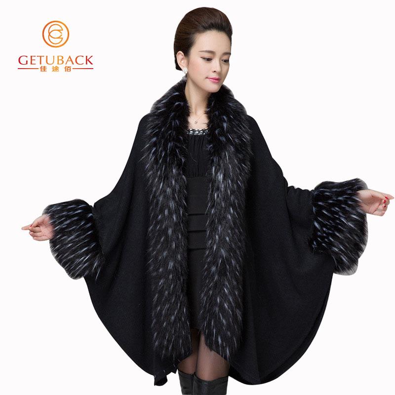 2016 womens fall fashion cape poncho Shawl Batwing Sleeve Warm Fashion faux fur cardigan KB870 - GetUBacK store