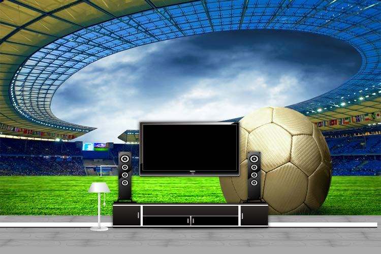 Sports football theme stadium 3d wall mural for coffee bar shop Club TV  background 3d murals. 3d mural Picture   More Detailed Picture about Sports football