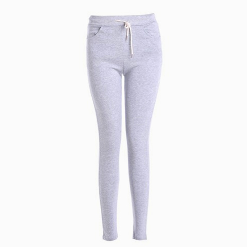 New 2016 Spring and Autumn Women's Fashion Pants Candy Color Mid Waist Sport Pants Lady Lacing With Pockets Knitted Soild Pants(China (Mainland))