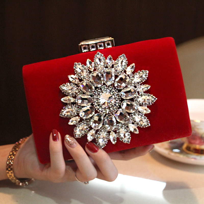 2016 New Single Side Sun Diamond Crystal Evening Bags Clutch Bag Hot Styling Day Clutches Lady Wedding woman bag Free Shipping(China (Mainland))