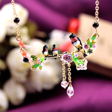 Holiday Leisure Clothing Nape Accessories New Arrival Cute Simple Enamel Birds Pendant Necklace(China (Mainland))