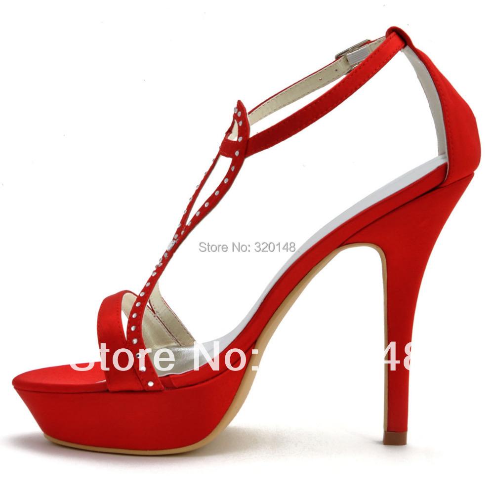 Sandalias rojas para WomenSummer EP2118 PF Abierto Toe T straps Satén Rojo Ultra Alto Talón Rhinestone Atractivo Bombea Los Zapatos Del Partido en Sandalias