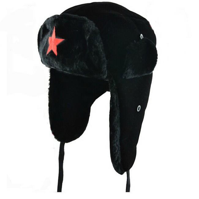 2016 new Men pentagram Lei Feng Winter Hat Aviator Outdoor Ear Flaps Bomber Cap Proof Trapper Russian Hat