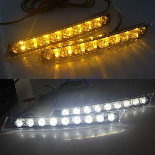2x Car 9LED White Daytime Running Light DRL Amber Turn Signal Lamp 12V Turn Lights<br><br>Aliexpress
