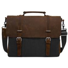 2016 Men's Shoulder Bags Canvas Leather Briefcase Vintage Satchel School Military Shoulder Messenger Bags Fits 15'' Laptop Bag(China (Mainland))
