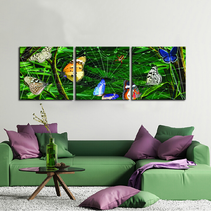 Butterflies be trapped in a Spider Web Animal Painting Modern Wall Art Picture Canvas Print Definition for Kids Room Decoration(China (Mainland))