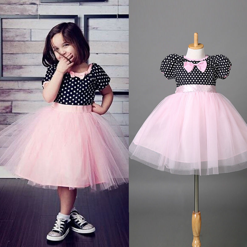 Girls Fancy Dress Costume Kids Child Girls Formal Party Wedding Dot Dress 2-7Y(China (Mainland))