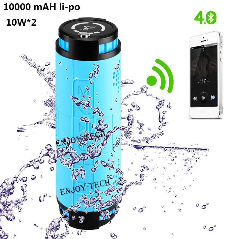 10000mAH Li-po outdoor sports wireless bluetooth speaker for bike 10W*2 portable waterproof speaker subwoofer for android iphone(China (Mainland))