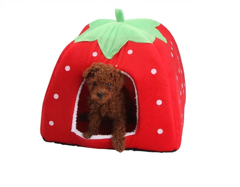 New Soft Strawberry Pet Dog Cat Rabbit Bed House Kennel Doggy Warm Cushion Basket Color S~L, 5 Colors New Leopard(China (Mainland))