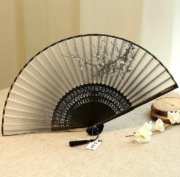Raw silk fan, Chinese handicrafts, Chinese style ladies wind craft fan silk fan cherry fan antiquity folded small(China (Mainland))
