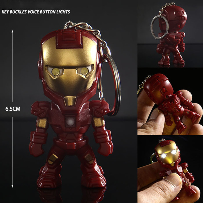 classic iron man pendant keychain the avengers alliance led keychain mini pvc action figure with. Black Bedroom Furniture Sets. Home Design Ideas