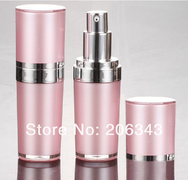15ml Pink Acrylic cone-shape press pump lotion.emusion bottle with silver pump ,press pump bottle ,Cosmetic bottle<br><br>Aliexpress