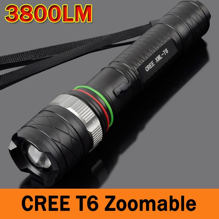 LED Flashlight CREE XM-T6 3800LM cree led Torch rechargeable Zoomable Torch light Camping Hiking Fishing ZK93(China (Mainland))