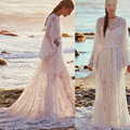 Long Sleeves Lace Beach Wedding Dresses Boho 2015 Vintage White Bohemian Plus Size High Neck Sheer