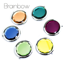 10colors Crystal Makeup Mirror Portable Round Folding Compact Mirror Making Up Espelho De Bolso For Personalized Wedding Gifts(China (Mainland))