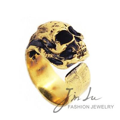 vintage jewelry antique gold finger ring skull ring