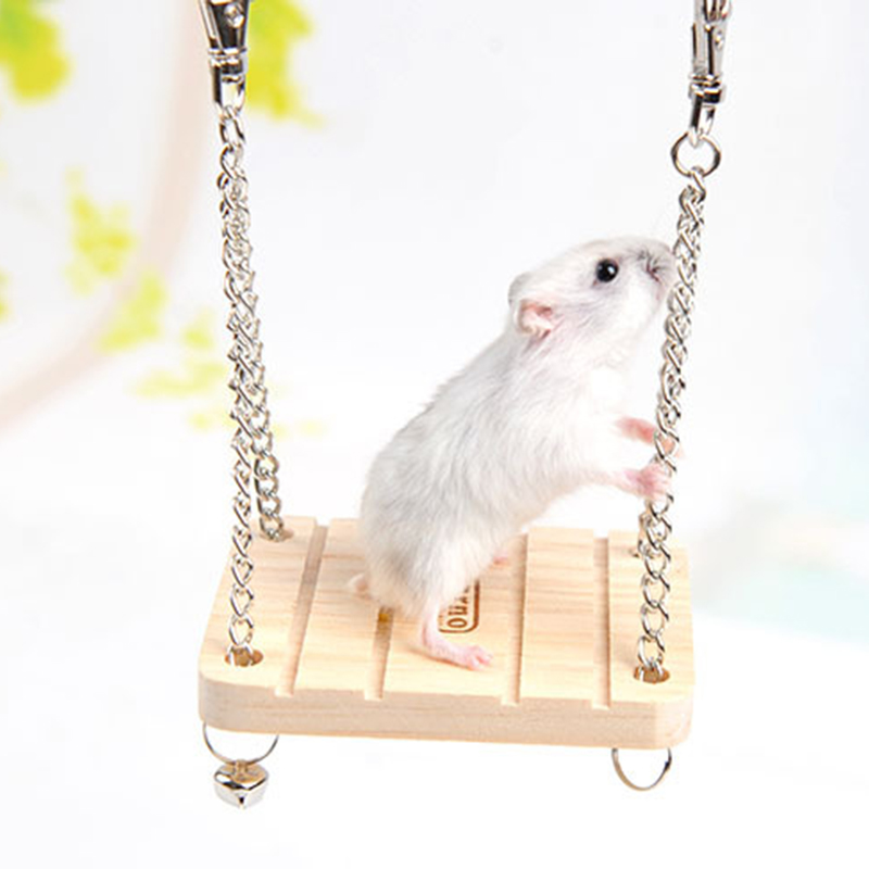 Hamster Rabbit Mouse Chinchilla Wooden Hanging Pet Hammock Small Swing Toys Cage Accessories(China (Mainland))