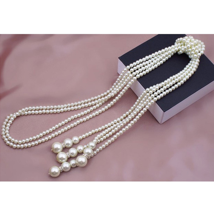 Hot Marketing 1pcs 130cm (51 inch) Long Knotted Multi Simulated Pearl Necklace Women Fashion Chain Accessories Jewelry for Girl(China (Mainland))