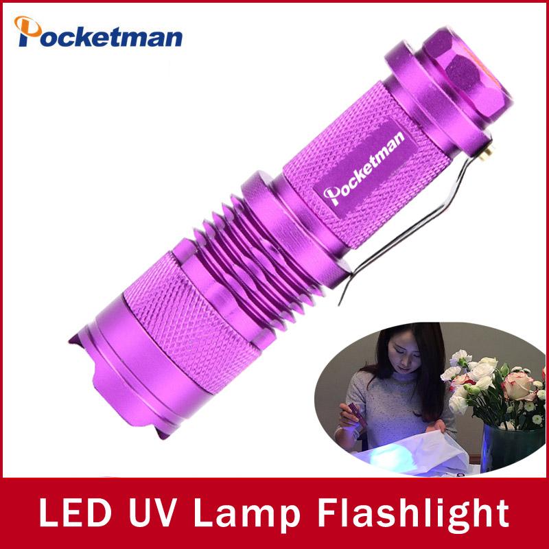 New Hot Fluorescent agent Detect uv flashlight led lamp 365nm purple Violet Light Torch penlight Facial Mask uv Lamp zk90(China (Mainland))
