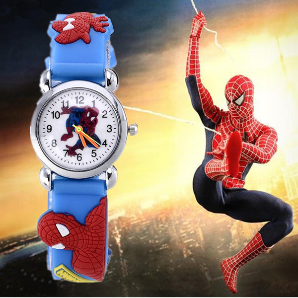 2015 Hot Sale Spiderman Watches Children Cartoon Watch Kids Cool 3D Rubber Strap Quartz Watch Clock Hours Gift Relojes Relogio(China (Mainland))