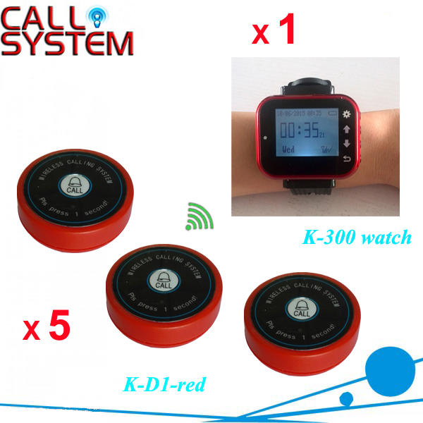 Wireless Calling System for Restaurant paging push to call button 5 bell buttons and 1pcs wrist watch pager(China (Mainland))