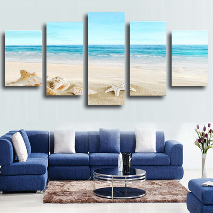Top-Rated Large HD Canvas Print for Living Room, S711 Starfish Shell & Blue Sea, 5 panel Wall Art Picture/Photo Painting Artwork(China (Mainland))