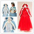 Christmas Girls Dress Red Blue Princess Costume with Shawl Girls Dresses Winter Dress