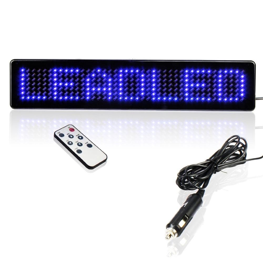 23cm Scrolling LED Car Display English Remote Control LED Car Sign Board LED Programmable Message Sign 12v Diy kit (BLUE)(China (Mainland))