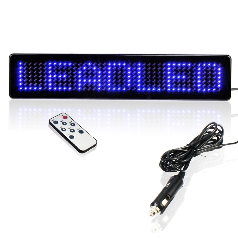 9inches Scrolling LED Car Display English Remote Control LED Car Sign Board LED Programmable Message Sign 12v Diy kit (BLUE)(China (Mainland))