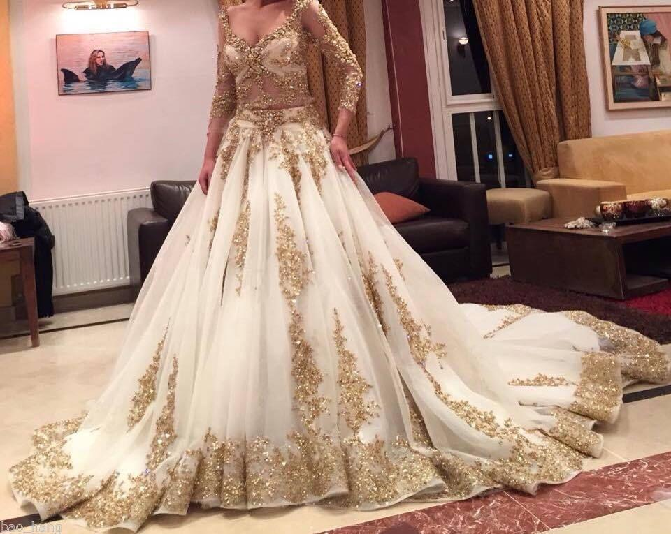 Cinderella two pieces wedding dress arabic ball gown gold for White and gold lace wedding dress