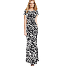 Vfemage Womens 2016 Spring Summer Elegant Vintage Print Pinup Short Sleeve Casual Party Fit Bodycon Pencil Long Maxi Dress 2076(China (Mainland))
