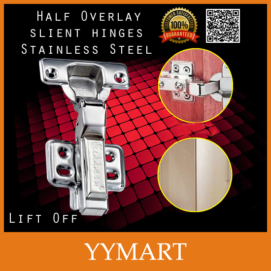 1Pc Soft Silent Closer Hardware Stainless Steel Lift Off Half Overlay Hydraulic Brass Buffer Cabinet Cupboard Door Hinges(China (Mainland))