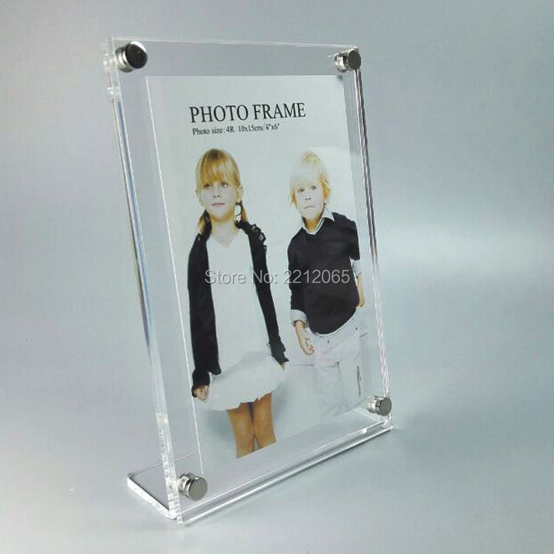L-Frame Vertically Insert Acrylic Plexiglass Photo Picture Frame with Standoff ,Slanted Sign Holders(China (Mainland))