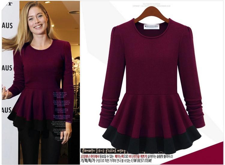 2014 New Spring Winter Fashion T Shirt Women Long Sleeve