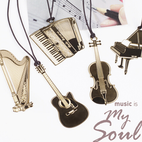 (6 Pieces/Lot) Cute Kawaii Golden Metal Music Bookmarks Piano Guitar Trumpet Designs Book Marks Korean Stationery Gifts(China (Mainland))