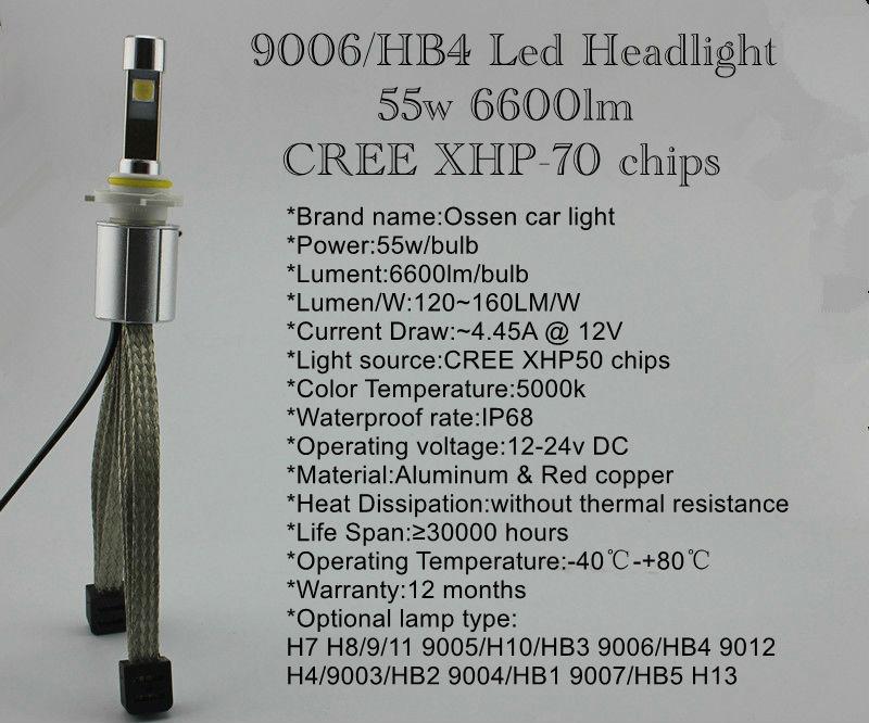 Ossen XHP-70 H4 LED Headlight 13200lm 110w 5000k Xenon White Head light H7 H8 H9 H11 9005 HB3 H10 9006 HB4 9012 9004 Headlights