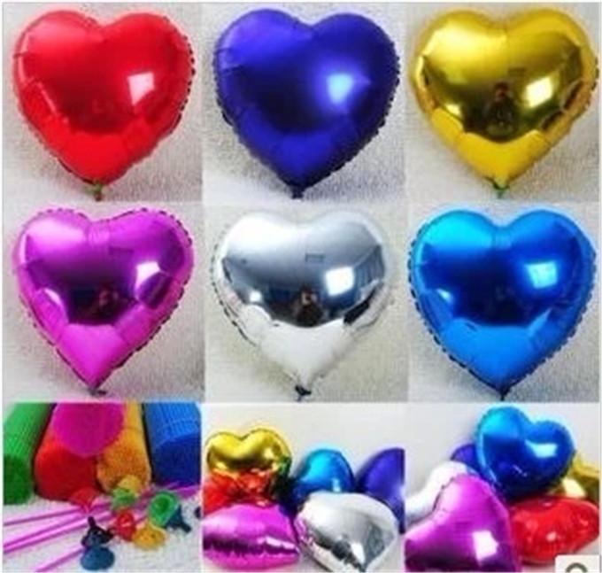 18 inch 10pcs/lot Aluminum Foil Balloon Metallic Ballon Heart Shape Multi-Color Wedding Decoration Party(China (Mainland))
