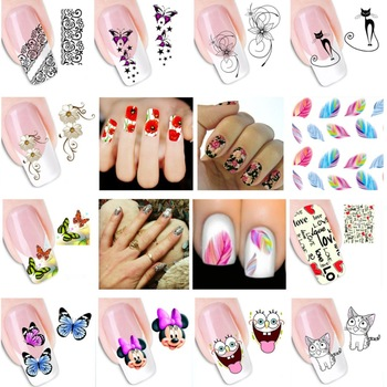 WUF 16 Pcs Water Transfer Nail Art Stickers Decal Beauty Lipstick High Heels Lips Design Nails Tools